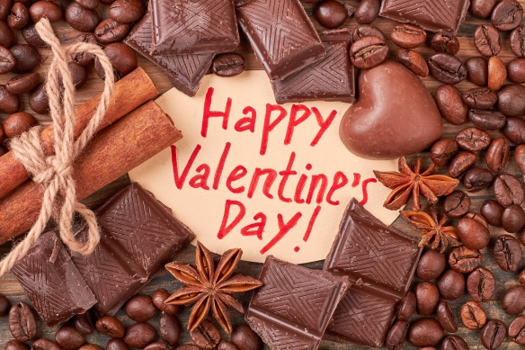 Valentine's Day card and confectionery.