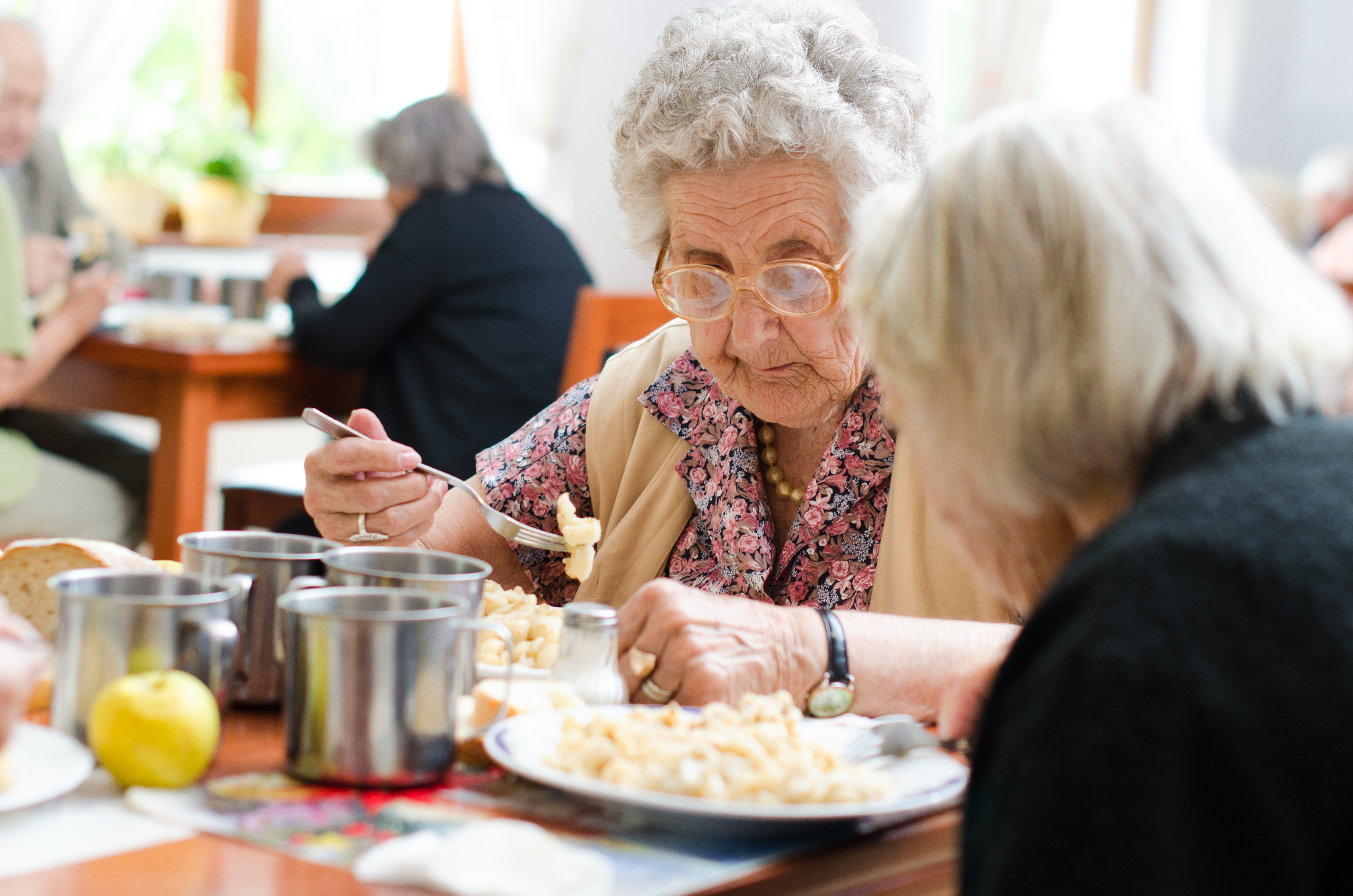 senior woman eating